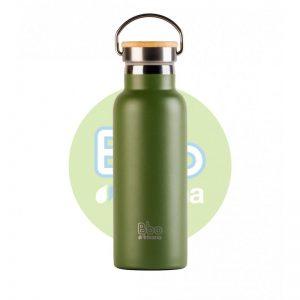 Botella reutilizable termo con tapón de bambú. Irisana