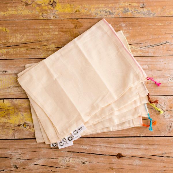 Pack 5 bolsas de algodón ecológico reutilizables, talla S