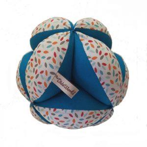 Pelota Montessori, gotas multicolores azul