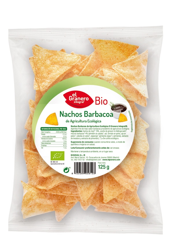 Nachos barbacoa bio, El Granero Integral 125g.