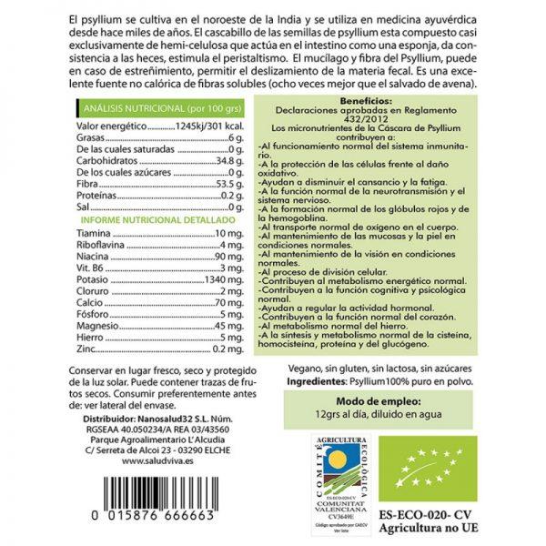 Psyllium en polvo 200gr, Salud Viva