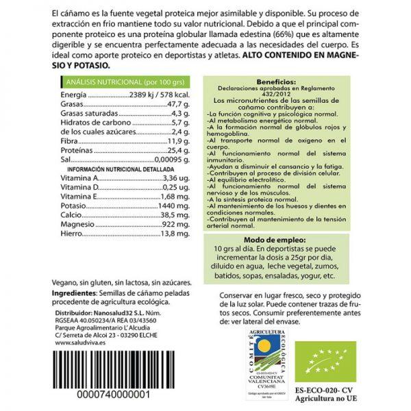 Semillas de cáñamo peladas eco 250gr, SaludViva