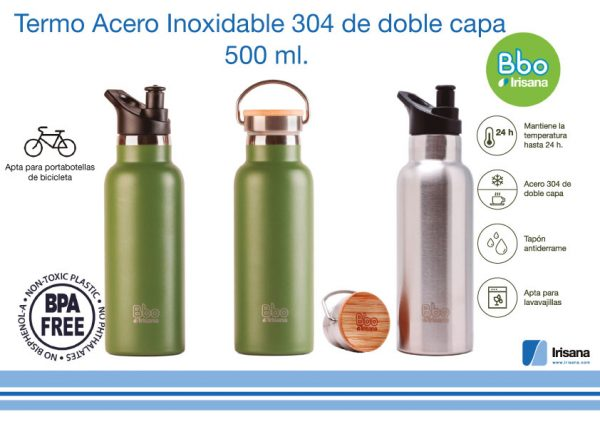 Botella reutilizable termo 500 ml. acero Inoxidable con tapón de bambú.