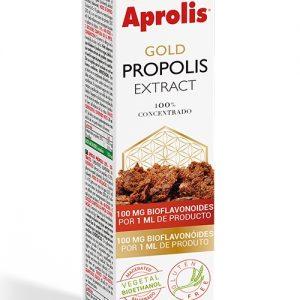 Extracto de propóleo, Intersa Aprolis GOLD PROPOLIS EXTRACT Aprolis Adultos CONCENTRADO APORTE de 100 mg DE BIOFLAVONOIDES por 1 ml de EXTRACTO. 100% NATURAL. Aprolis® PROPÓLEO CONCENTRADO Contenido Garantizado en BIOFLAVONOIDES Extracto de PROPÓLEO CONCENTRADO obtenido por maceración en alcohol procedente de fermentación vegetal (BIOETANOL). Aporta 200 mg de PROPÓLEO PURO y 100 mg de BIOFLAVONOIDES por dosis de 1 ml. CONCENTRACIÓN MÁXIMA COMPLEMENTO 100% NATURAL NO CONTIENE PROPILENGLICOL - NO CONTIENE ALCOHOL ETÍLICO