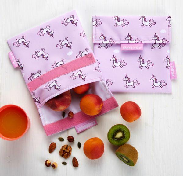 Porta snacks reutilizable Unicornios, Roll eat